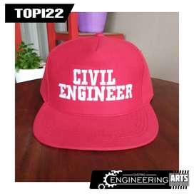 Topi Bordir Motif Civil Engineering Merah - [TOPI22] Topi Snapback