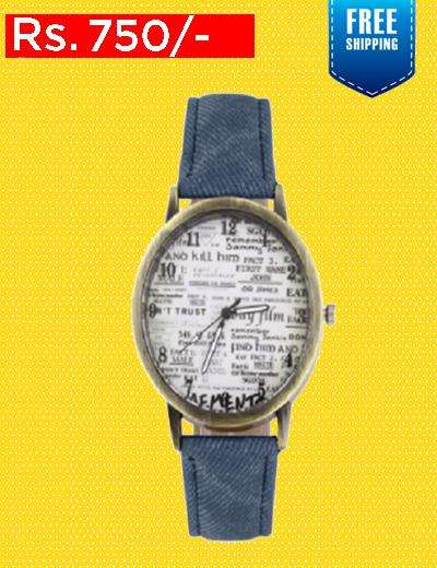 Blue Denim Strap Watch For Women 0