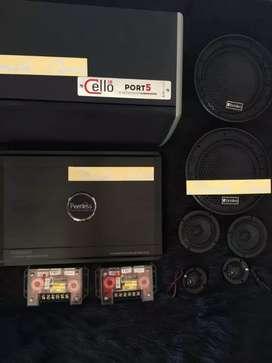 Audio mobil paket 3way subwoofer cello,power peerless,speaker aries^_^