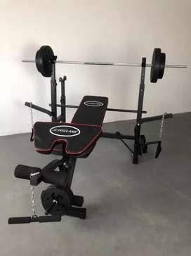 Alat Fitnes Dirumah Bench Press Set + Tambahan Dumbell 40 kg. COD