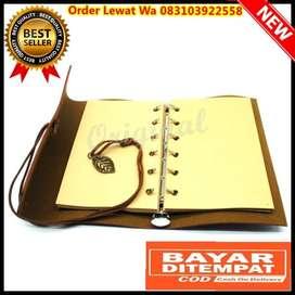 Buku Catatan Binder Kulit Retro Leaf Kertas A5  Brown