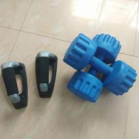 Plastic dumbbells (2x5kg) and Push up bar pair