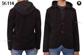 Blazer Casual Pria with Hoodie Black Style – SK114