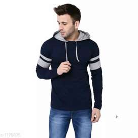 Mens solid cotton hooded T-shirts cash on delivery 2 days