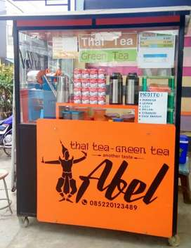Roda/gerobak thai Tea Full Kaca tinggal pakai