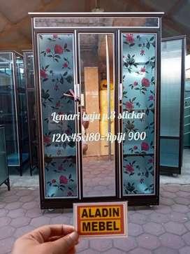 Lemari baju pintu 3 kaca stiker ready aladin Sidoarjo Tarik 0310