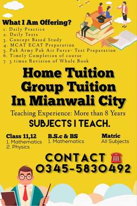 Home Tuition for FSc BSc Matric Students