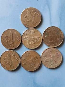 Uang koin logam kuno  50 rupiah komodo
