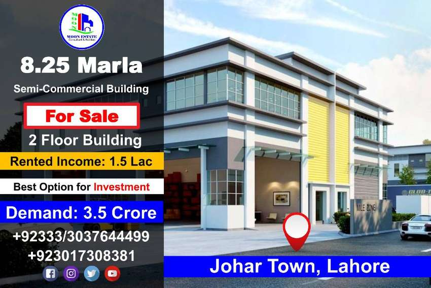 8.25 Marla Semi-Commercial Building for Sale in Johar Town Lahore 0