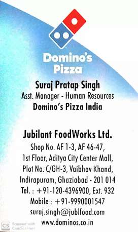 Huge jobs vacancies for part timers in Domino's Pizza