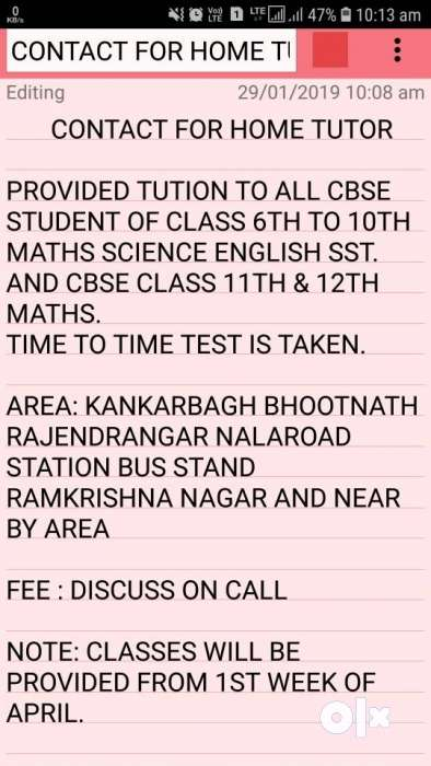 Contact for home tutor 3 year teching experience 0