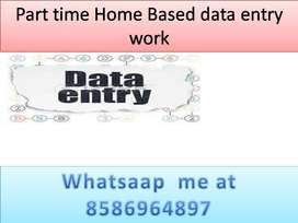 Home based job part time work data entry job typing work.