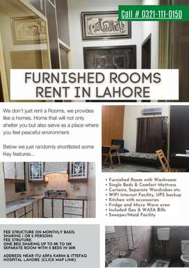 Furnished Rooms, Hotel & Hostel month wise, near ITU Model Town Lahore