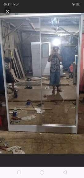 Lemari pakaian pintu 2 sleding full kaca cermin.Pembayaran bisa COD