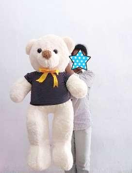 Teddy Bear Pakai Baju Ukuran 1Meter - Bear Cream Jumbo