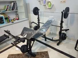 Alat fitness bench press set dgn beban