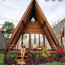 Rumah kayu segi tiga atap sirap