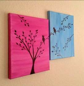 Pack of 2 bird painting on canvas