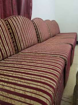 5 Seaters Sofa maroon & Golden colour