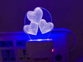 3D Triple Heart Shaped Night Lamp with 7 Color Changing (Size 4 Inch)