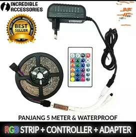 Lampu led 5mtr + remote +adaptor