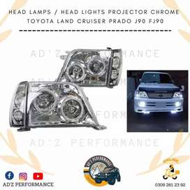 Head Lamps Headlights Projector Chrome Toyota Land Cruiser Prado J90