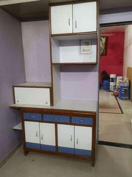 7ft corner (teakwood)wooden storage cabinet with open place for mandir