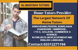 For O-Levels,A-Levels,I to XII,IELTS-Experienced Home Tutors Available