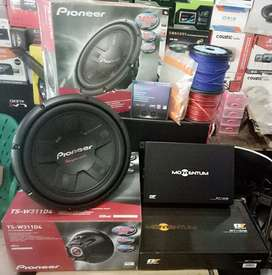 Plus Pasang,Subwofer PIONEER+Power MoMentuM+Tweeter MBquart+Box+Kabel""