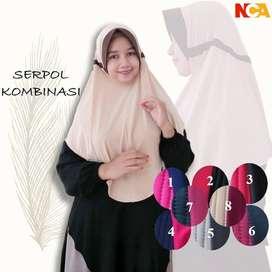 Jilbab Instan Serut Kombinasi Serkom Jersey