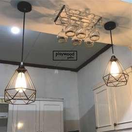 Lampu Gantung Besi Asli untuk Interiro Industrial
