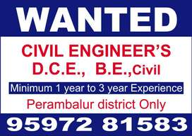 WANTED CIVIL ENGINEERS,D.CE.,BE..,CIVIL