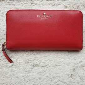 Dompet import eks KATE SPADE merah kulit asli tebal ad no seri keren