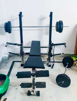 Gym bench with rods and weights - Chest, arm and leg exercises