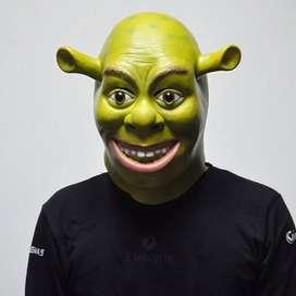 Topeng shrek monster ogre Halloween prank fullhead cosplay latex mask