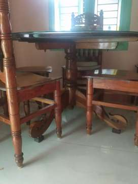 Pure teak 4 chairs dinning table with glass