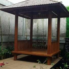 Gazebo minimalis kayu jati ukuran 2x2m