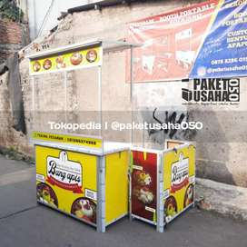 Booth portable meja lipat gerobak container event desk