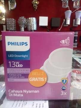 Dwonlight philips paketan 13 watt isi 3 putih bergaransi