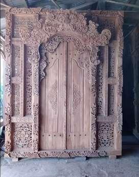 Gebyok stile motif bali kusen pintu ukir