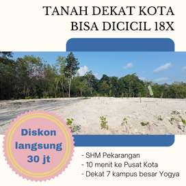 Jual Tanah Sleman 50 Meter ke Jl Kabupaten Sertifikat SHM P