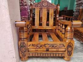 Brand new(PURE mysore teakwood) 3 +1 +1 wooden sofa set with cushions