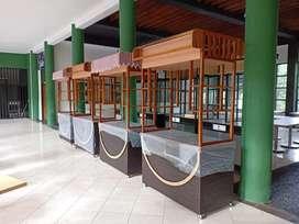 Meja booth gerobak kayu cafe/restoran/kedai dll