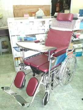 Kursi roda 4in1 lansia plus meja makan tiduran selonjor bab