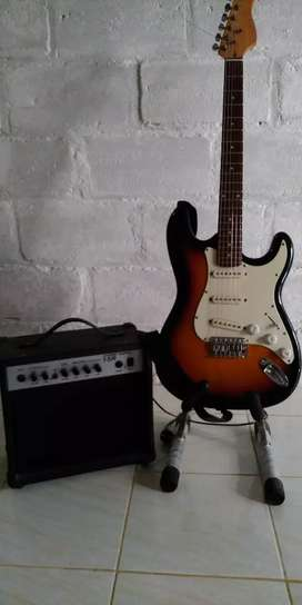 satu paket ampli epipon dan gitar ori korea