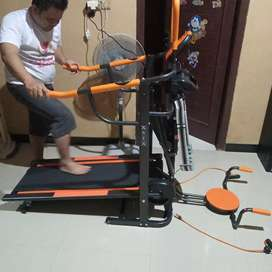 Treadmill manual 6 Fungsi lengkap berkualitas Hitam orange