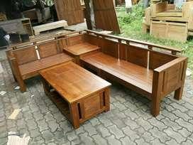 Kursi tamu sudut minimalis kayu jati ready stok