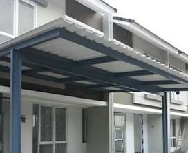 Kami bengkel las nerimah pemasangan kanopi atap alderon $$1263