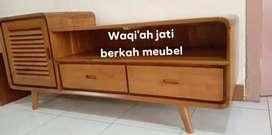 Bufet meja tv retro modern & mewah, P. 150cm, bahan kayu jati tua asli