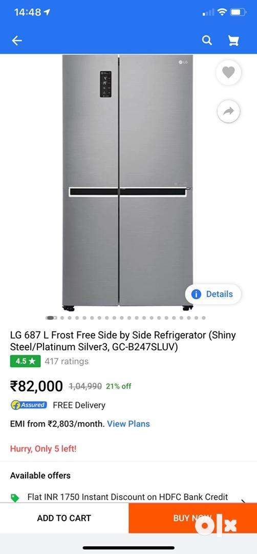 Side by side refrigerator (Excellent Condition-10 months old) 0